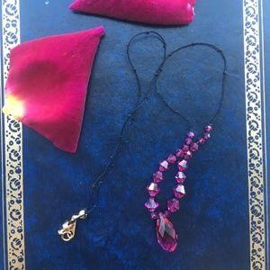 Jewelry - 305: Fuschia Swarovski Crystal Silk Tie Necklace